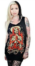 NEW Too Fast Faith Zombie Nun Black Banded Tunic Tank Top w/Cut-Out Back M