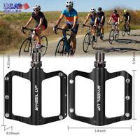 Road Mountain Bike Platform Pedals Flat Wide Aluminum Sealed Bearing 9/16'' MTB
