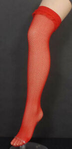 Red Fishnet Thigh Highs with Ruffled Lace Tops Stockings Hosiery One Size