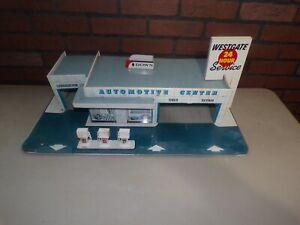 Vintage MARX Tin Westgate Automotive Center for Parts Fuel Gas Station Pumps