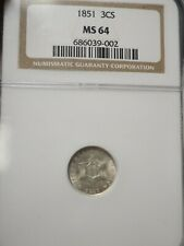 1851 3c Silver NGC MS64 # 9002