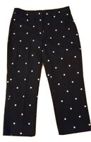 Talbots Size 10 Heritage Crop Pants Navy Blue Embroidered Stars