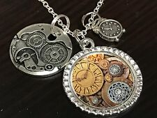 """Clock Works Steampunk Look w/Charms Tibetan Silver with 18"""" Necklace"""