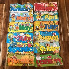 Vintage 12 pc Months of the Year Die Cut Decorations Holidays Calendar School