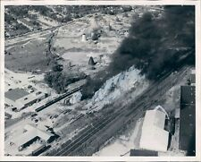 1955 Aerial Lumber Yard Fire by Railroad Tracks Columbus Georgia Press Photo