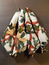 "Set 4 16"" Christmas Napkins & 4 Silver Green Holly Rings Bells Ribbon Pine Cones"