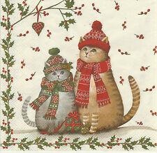2 Serviettes en papier Chat de Noël Decoupage Paper Napkins Christmas Cats