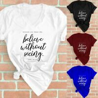 Short Sleeve Christian T-Shirt Women V-Neck Letter Printed Graphic Summer Tops