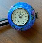 Antique Cobalt Blue Guilloche Enamel Ball Watch by BUCHERER