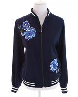 Susan Graver Embroidered Blue Floral Full Zip Up Ringer Bomber Jacket Women Sz M