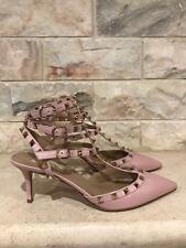 NIB Valentino Rockstud Pink Water Rose Triple Strap Kitten Heel Pump 38 $1075