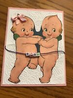 Baby Girl Card Pink Ribbon Kewpies Dance Beads Baby Handmade.