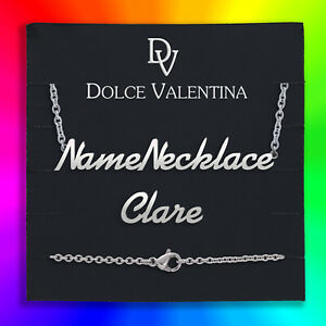 Personalised Name Necklace Clare Nameplate Pendant Silver, Gold, Rose-Gold