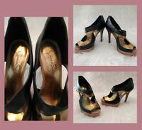JESSICA SIMPSON Sexy High Heel Peep Toe Ankle Bootie Platform Black Gold  Sz 7.5