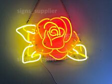 New Rose Flower Yellow Leaves Acrylic Neon Sign 14'' Light Lamp Bar Wall Display