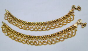 22K Solid Gold Anklet Pair Wedding Jewelry