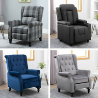 Single Fabric Velvet Tufted Accent Chair Wood Legs PU Recliner Couch Armchair
