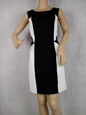 En Focus studio dress 12 black and white stretch mesh sleeveless knee length