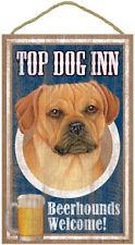 "Top Dog Inn Beerhounds Puggle Bar Sign Plaque dog pet 10"" x 16"" Beer"