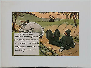 Reckless Driving by Charles Crombie Police themed reproduction print