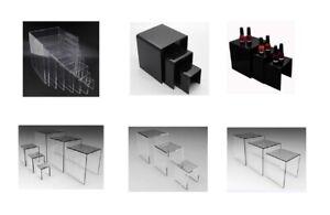Clear/Black Riser Plexiglass Riser Lucite Acrylic Riser Display Risers rack