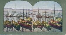 Vintage Sv Herring Fishing Skudeanes, Norway Color Stereoview Photograph