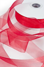 NEW RED Premium Organza Ribbon 25mm x 50m, red