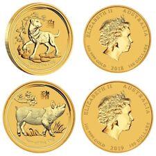 2 x 100 Dollar Australia 2018 + 2019 BU  2 x 1 OZ Gold Dog 2018 + Gold Pig 2019