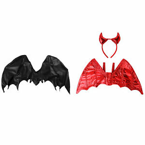 Black Dragon Wings Red Devil Wings Headband for Halloween Adult Costume Props