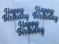 Cupcake Toppers Happy Birthday party cake decorations Blue Glitter Pack of 6