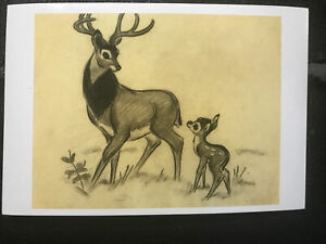 POSTCARD DISNEY- BAMBI, 1942. THE GREAT PRINCE OF THE FOREST WITH HIS SON BAMBI