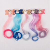 "3"" Cartoon Unicorn Party Glitter Hair Clips Long Wig Hairgrips Kids Headdress"