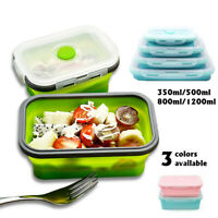 Portable Folding Silicone Collapsible Lunch Box Bento Food Storage