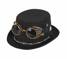 STEAMPUNK TOP HAT BLACK WITH GOOGLES & GEARS INDUSTRIAL VICTORIAN AVIATOR FANCY