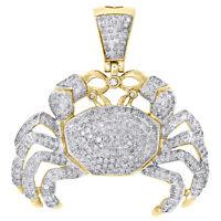 "10K Yellow Gold Real Diamond Crab Zodiac Cancer Pendant 1.50"" Pave Charm 1.85 CT"