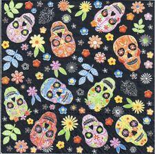 4 Single paper decoupage napkins. Colorful skulls, funny, Halloween  -809