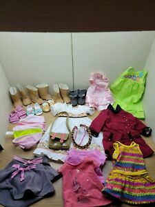 """Lot Of 18"""" Doll Clothes/Shoes Dresses Panties Skirts Bag Passport American Girl"""