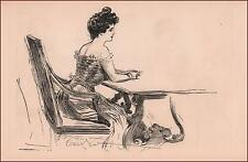 GIBSON GIRL at Dining Table by Charles Dana Gibson, antique authentic 1902