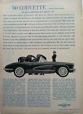 1960 CORVETTE CONVERTIBLE ORIGINAL GM AD - TRUE DEFINITION OF A SPORTS CAR