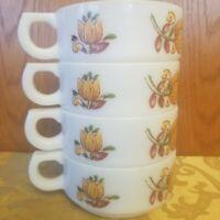 "Set Of 4 Vintage Chili Soup Bowls Flower Pattern 5"""