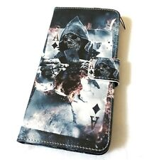 For iPhone 7+ / 8+ PLUS - Ace of Jack Skull Blue Card Wallet Money Pouch Case