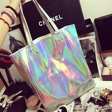 Women Handbags Holographic Silver Shopper Shopping Bag Shoulder Bag Tote Handbag