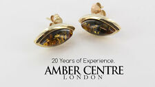 Italian Made Green Baltic Amber Studs In 9ct Gold GS0044G RRP £200!!!