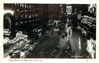 Autos Times Square Night New York City 1940s RPPC Photo Postcard Galloway 2624