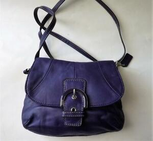 COACH SoHo Small Buckle Flap Crossbody in Violet Purple Leather