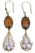 14K Yellow Gold Honey Quartz/White Agate dangle Earring