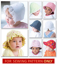 SEWING PATTERN! MAKE BABY~TODDLERS HAT~CAP~BONNET!  8 STYLES~5 SIZES~INFANT GIRL