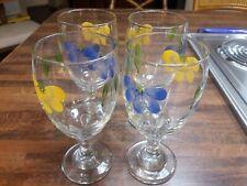 Maxam Daisy Hand painted Italian Water Glasses, Set Of 4