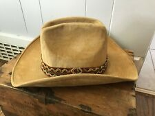 Canyon Trails Korea Cotton Faux Suede Vtg Mid Century Western Cowboy Hat M 7-7.5