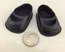 "Vintage 1 5/8"" Black Plastic Doll Shoes with bows - New Old Stock!"
